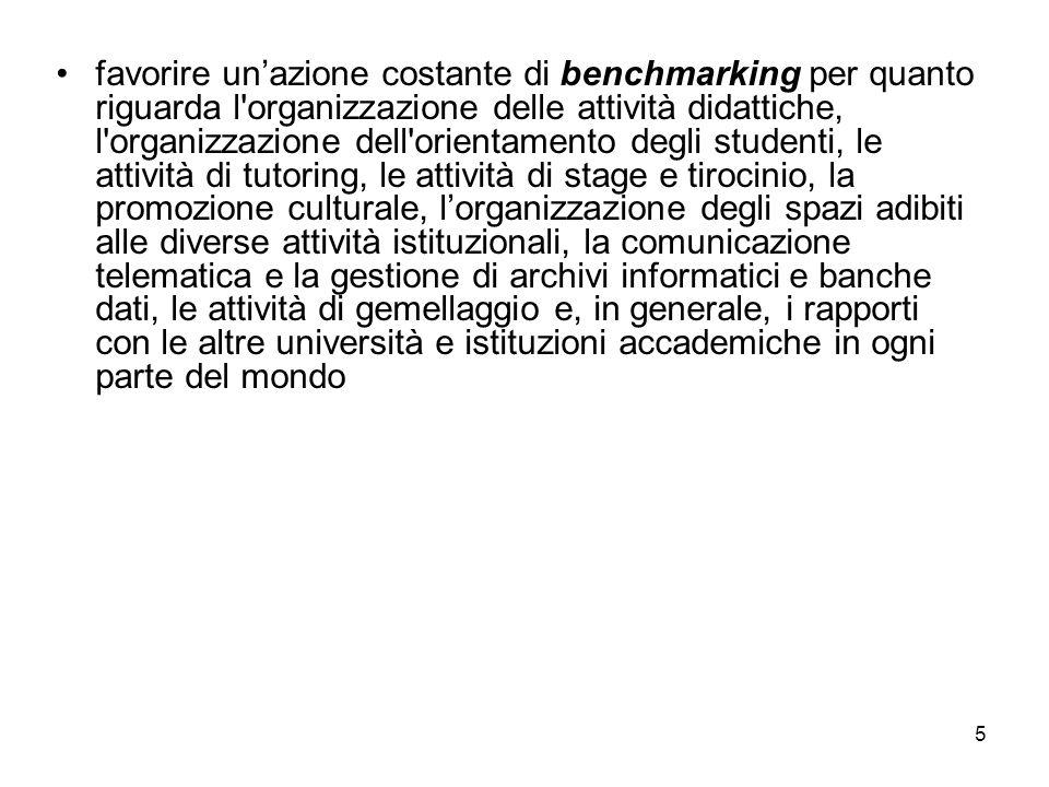 5 favorire unazione costante di benchmarking per quanto riguarda l'organizzazione delle attività didattiche, l'organizzazione dell'orientamento degli