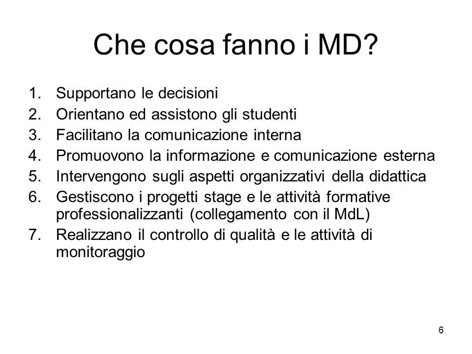6 Che cosa fanno i MD? 1.Supportano le decisioni 2.Orientano ed assistono gli studenti 3.Facilitano la comunicazione interna 4.Promuovono la informazi