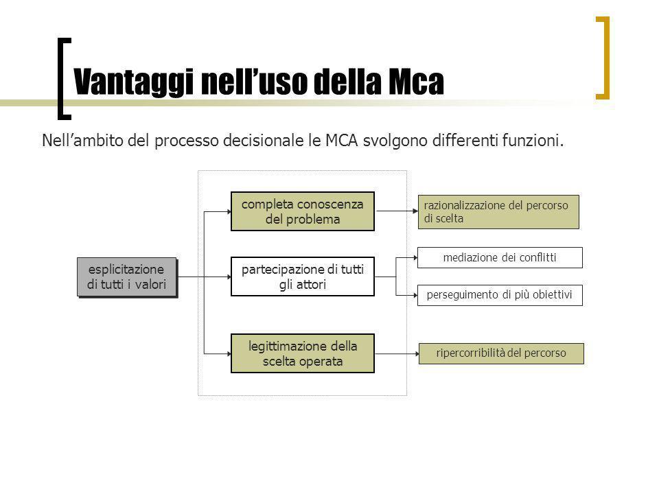 Vantaggi nelluso della Mca Nellambito del processo decisionale le MCA svolgono differenti funzioni. esplicitazione di tutti i valori ripercorribilità