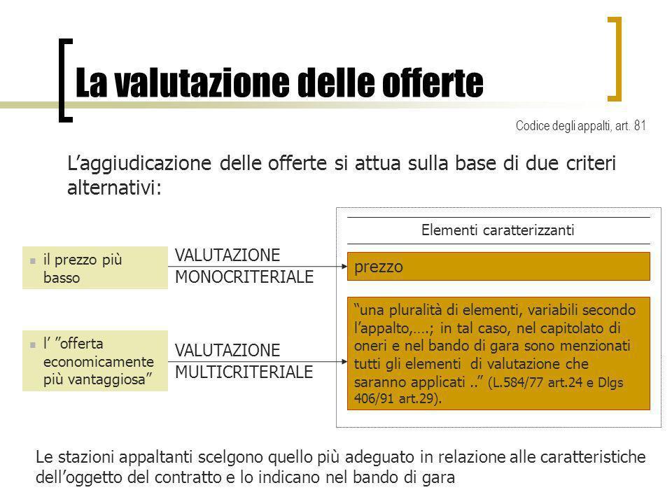 La valutazione delle offerte Laggiudicazione delle offerte si attua sulla base di due criteri alternativi: una pluralità di elementi, variabili second