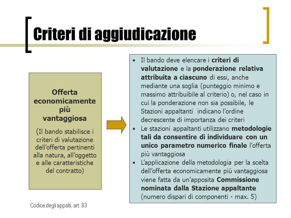 Criteri di aggiudicazione Offerta economicamente più vantaggiosa ( Il bando stabilisce i criteri di valutazione dellofferta pertinenti alla natura, al