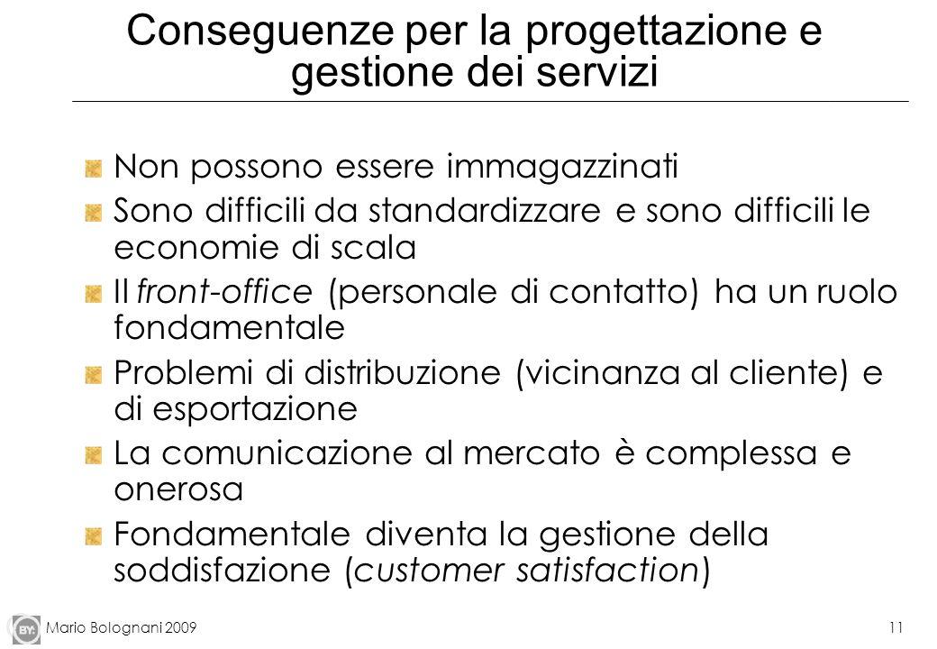 Mario Bolognani 200911 Conseguenze per la progettazione e gestione dei servizi Non possono essere immagazzinati Sono difficili da standardizzare e son