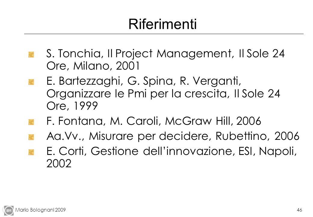 Mario Bolognani 200946 Riferimenti S. Tonchia, Il Project Management, Il Sole 24 Ore, Milano, 2001 E. Bartezzaghi, G. Spina, R. Verganti, Organizzare