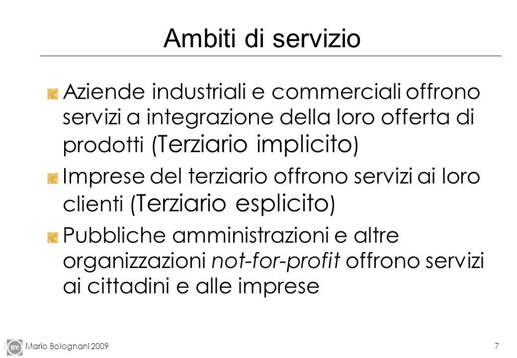 Mario Bolognani 20097 Ambiti di servizio Aziende industriali e commerciali offrono servizi a integrazione della loro offerta di prodotti ( Terziario i
