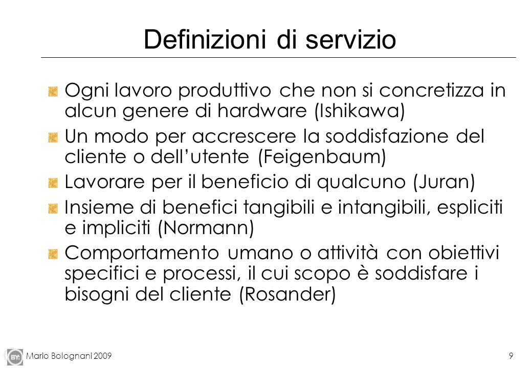 Mario Bolognani 20099 Definizioni di servizio Ogni lavoro produttivo che non si concretizza in alcun genere di hardware (Ishikawa) Un modo per accresc