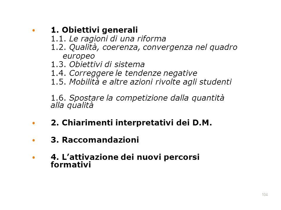 104 1. Obiettivi generali 1.1. Le ragioni di una riforma 1.2. Qualità, coerenza, convergenza nel quadro europeo 1.3. Obiettivi di sistema 1.4. Corregg