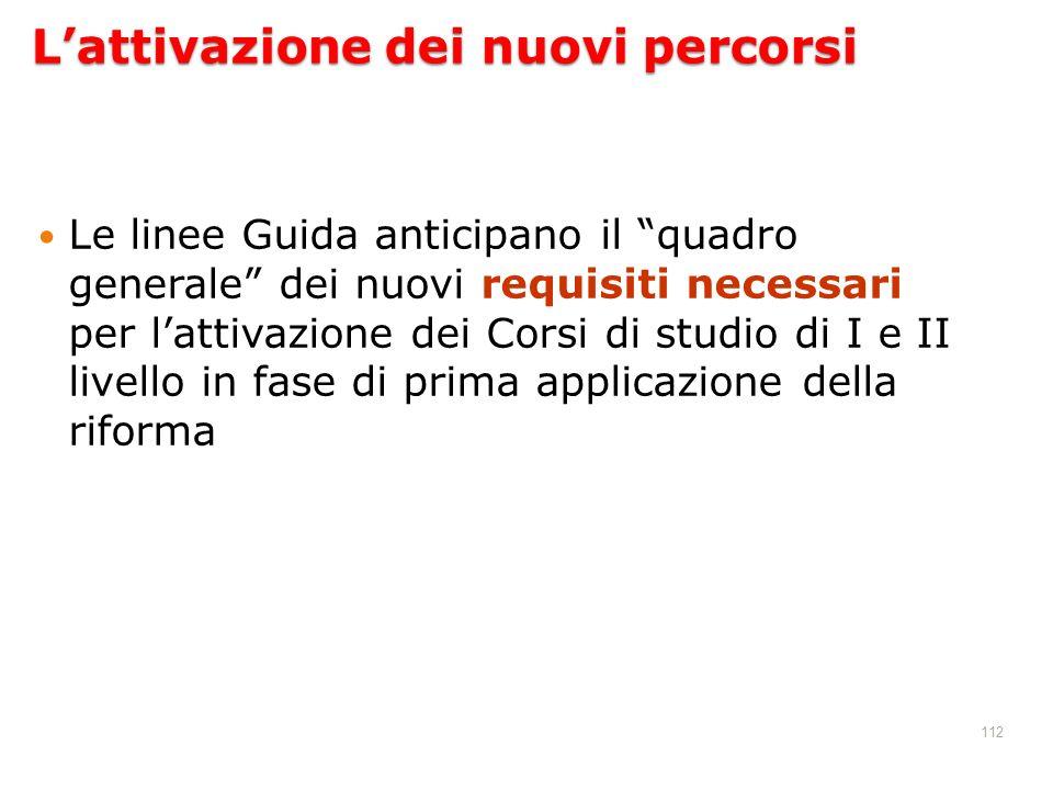 112 Lattivazione dei nuovi percorsi Le linee Guida anticipano il quadro generale dei nuovi requisiti necessari per lattivazione dei Corsi di studio di