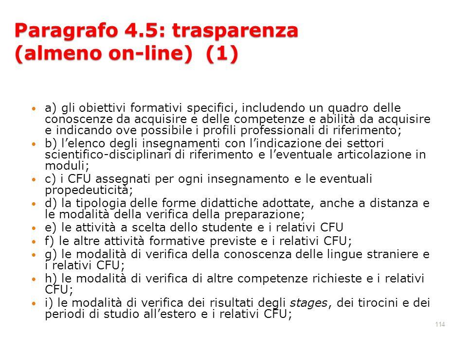 114 Paragrafo 4.5: trasparenza (almeno on-line) (1) a) gli obiettivi formativi specifici, includendo un quadro delle conoscenze da acquisire e delle c