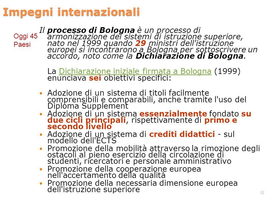 12 Impegni internazionali Il processo di Bologna è un processo di armonizzazione dei sistemi di istruzione superiore, nato nel 1999 quando 29 ministri