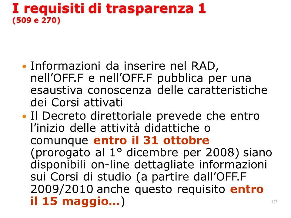 137 I requisiti di trasparenza 1 (509 e 270) Informazioni da inserire nel RAD, nellOFF.F e nellOFF.F pubblica per una esaustiva conoscenza delle carat