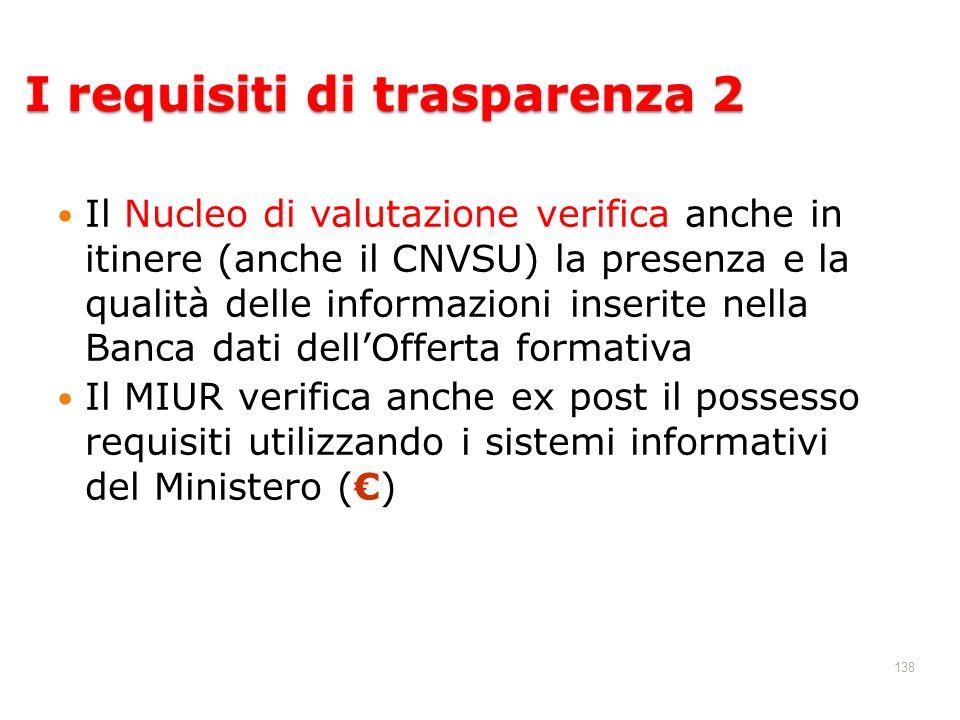138 Il Nucleo di valutazione verifica anche in itinere (anche il CNVSU) la presenza e la qualità delle informazioni inserite nella Banca dati dellOffe