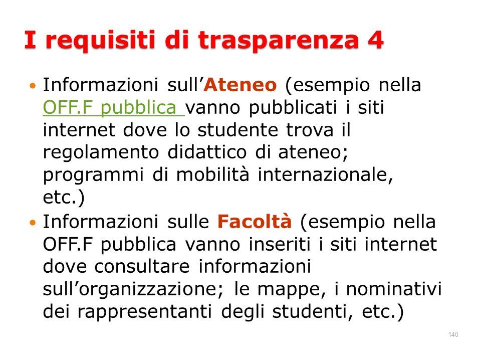 140 Informazioni sullAteneo (esempio nella OFF.F pubblica vanno pubblicati i siti internet dove lo studente trova il regolamento didattico di ateneo;