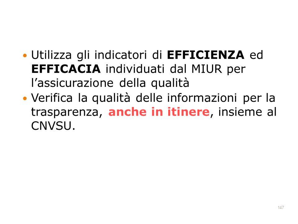 147 Utilizza gli indicatori di EFFICIENZA ed EFFICACIA individuati dal MIUR per lassicurazione della qualità Verifica la qualità delle informazioni per la trasparenza, anche in itinere, insieme al CNVSU.