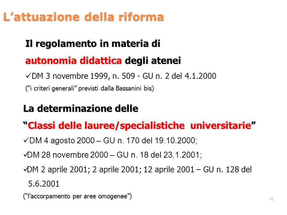 16 Lattuazione della riforma Il regolamento in materia di autonomia didattica degli atenei DM 3 novembre 1999, n. 509 - GU n. 2 del 4.1.2000 (i criter