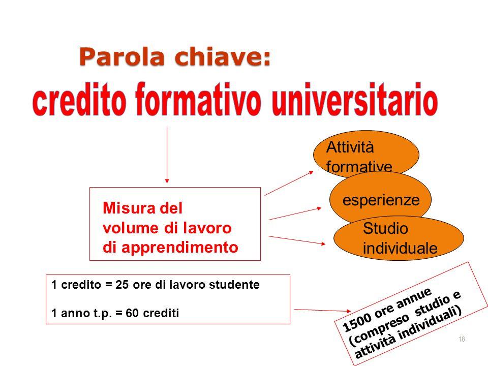 18 Parola chiave: Misura del volume di lavoro di apprendimento Attività formative esperienze Studio individuale 1 credito = 25 ore di lavoro studente 1 anno t.p.