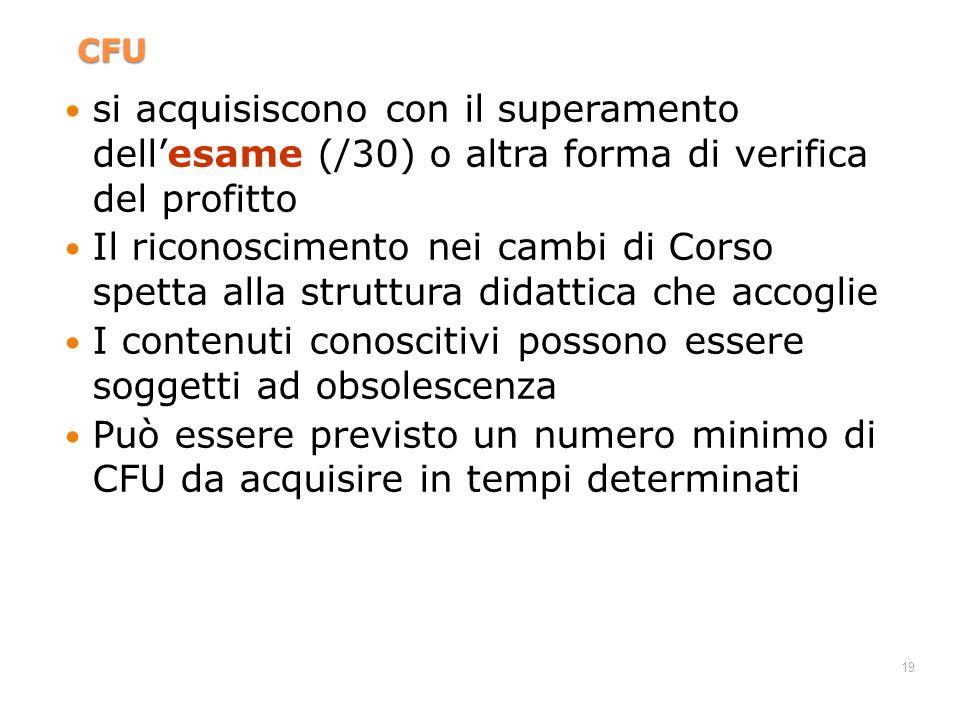 19 CFU si acquisiscono con il superamento dellesame (/30) o altra forma di verifica del profitto Il riconoscimento nei cambi di Corso spetta alla stru