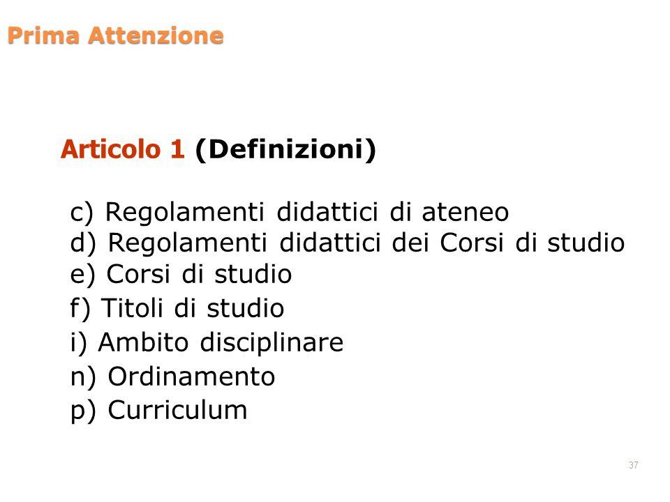 Prima Attenzione Articolo 1 (Definizioni) c) Regolamenti didattici di ateneo d) Regolamenti didattici dei Corsi di studio e) Corsi di studio f) Titoli