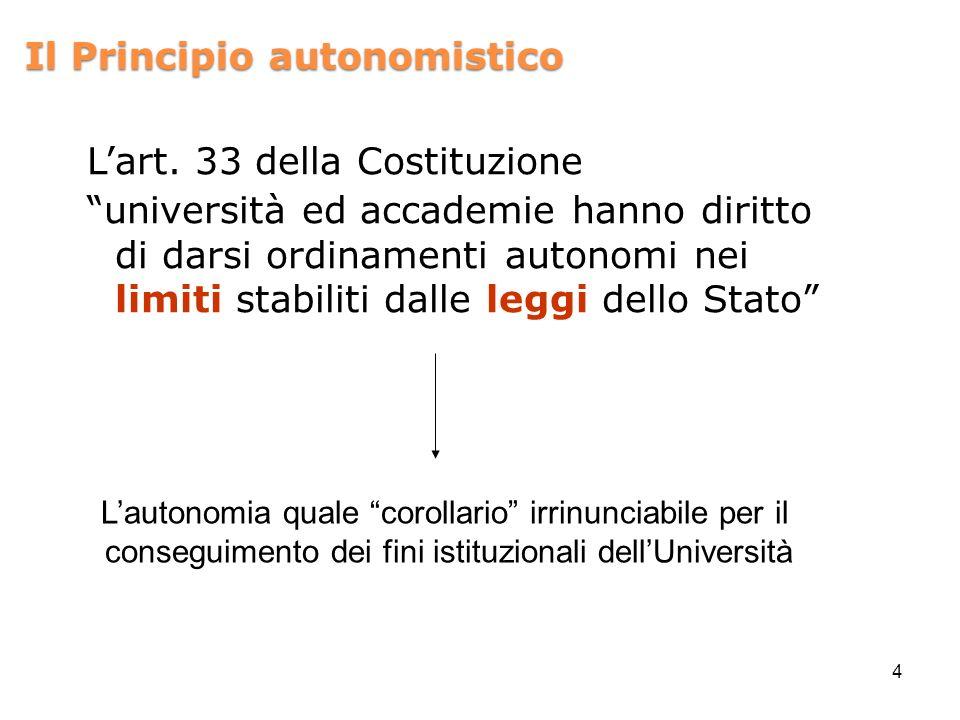 Il Principio autonomistico Lart. 33 della Costituzione università ed accademie hanno diritto di darsi ordinamenti autonomi nei limiti stabiliti dalle