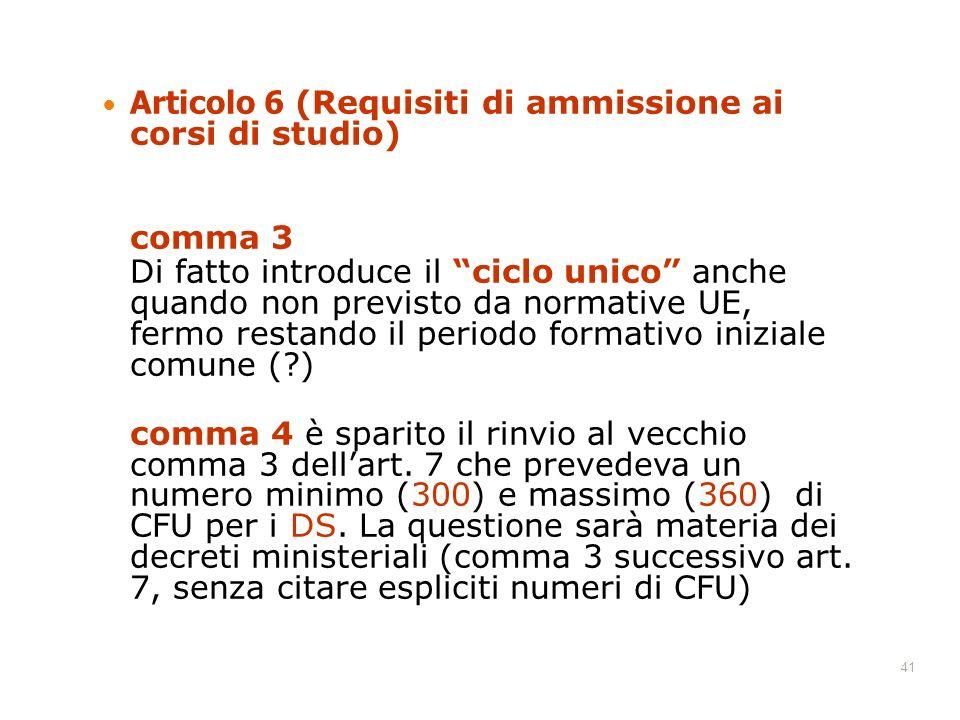 41 Articolo 6 (Requisiti di ammissione ai corsi di studio) comma 3 Di fatto introduce il ciclo unico anche quando non previsto da normative UE, fermo