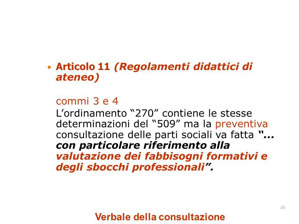 48 Articolo 11 (Regolamenti didattici di ateneo) commi 3 e 4 Lordinamento 270 contiene le stesse determinazioni del 509 ma la preventiva consultazione delle parti sociali va fatta...