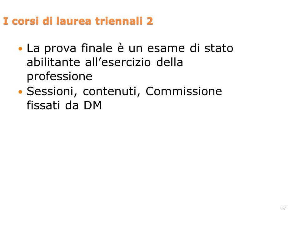 57 La prova finale è un esame di stato abilitante allesercizio della professione Sessioni, contenuti, Commissione fissati da DM I corsi di laurea triennali 2