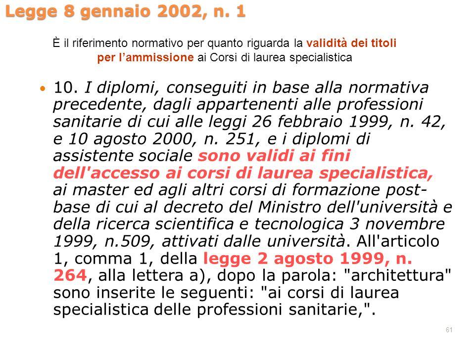61 Legge 8 gennaio 2002, n. 1 10. I diplomi, conseguiti in base alla normativa precedente, dagli appartenenti alle professioni sanitarie di cui alle l