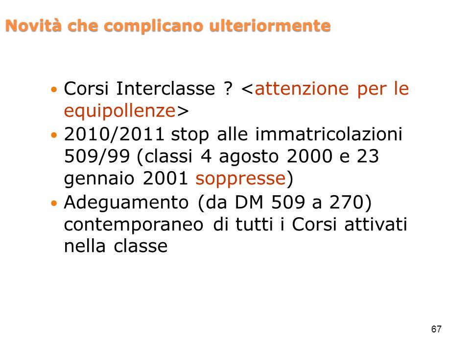 Novità che complicano ulteriormente Corsi Interclasse .