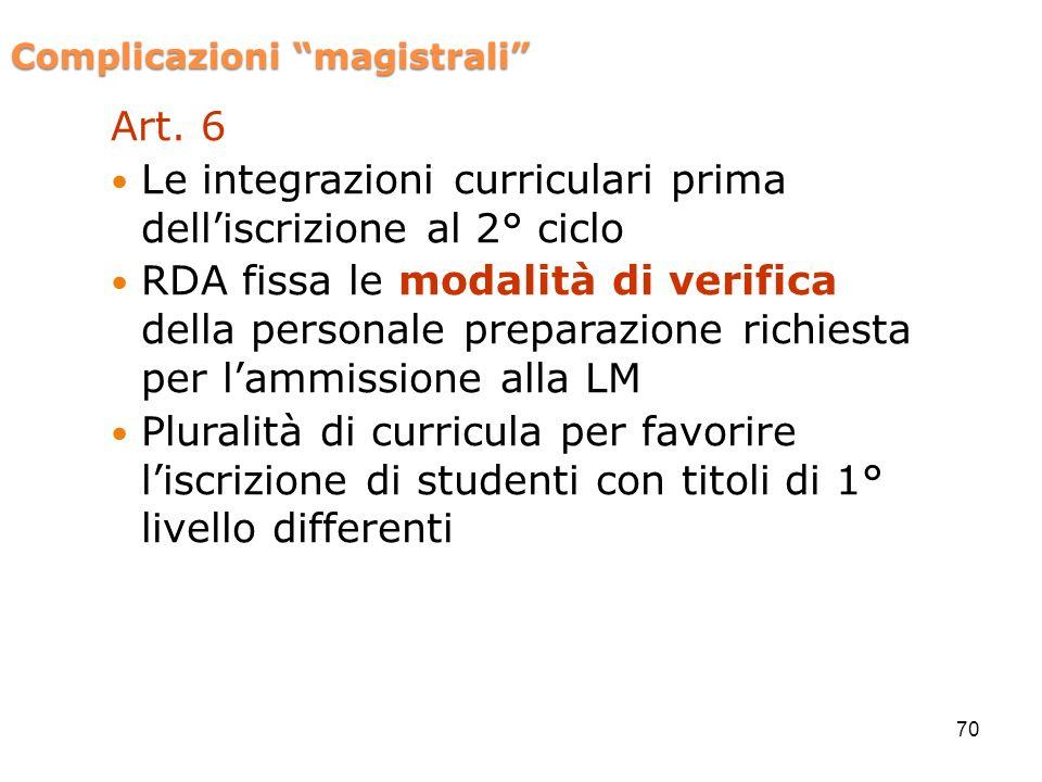 Complicazioni magistrali Art. 6 Le integrazioni curriculari prima delliscrizione al 2° ciclo RDA fissa le modalità di verifica della personale prepara