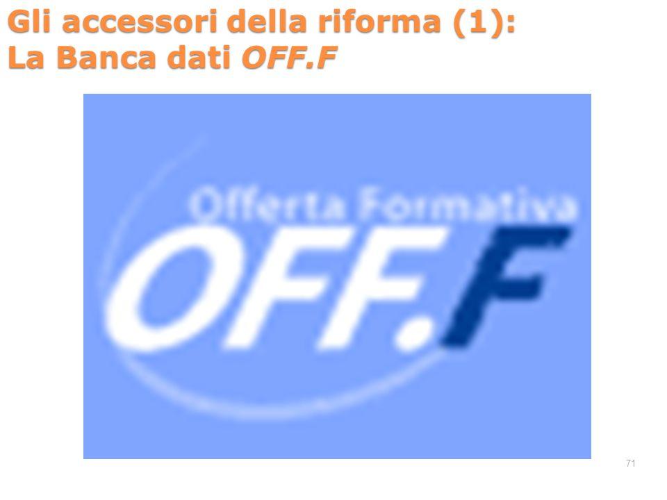 Gli accessori della riforma (1): La Banca dati OFF.F 71