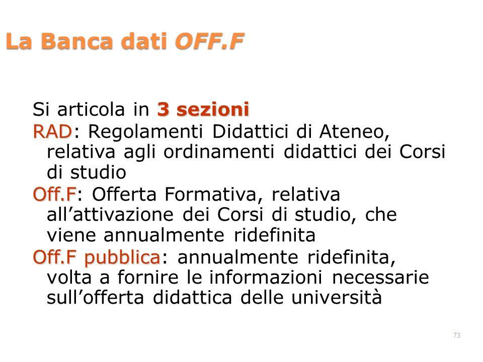 La Banca dati OFF.F 3 sezioni Si articola in 3 sezioni RAD RAD: Regolamenti Didattici di Ateneo, relativa agli ordinamenti didattici dei Corsi di stud