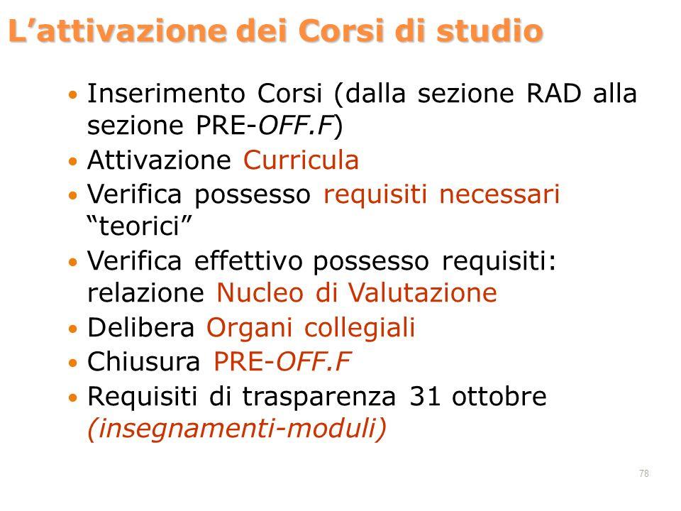 Lattivazione dei Corsi di studio Inserimento Corsi (dalla sezione RAD alla sezione PRE-OFF.F) Attivazione Curricula Verifica possesso requisiti necess