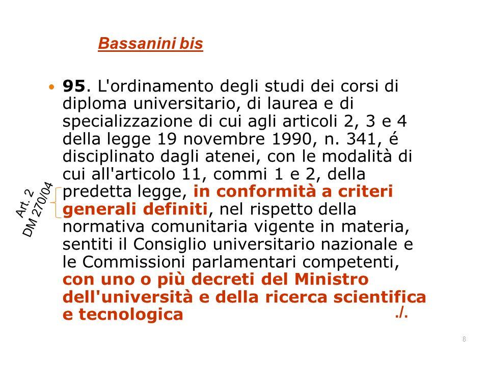 89 E le lauree magistrali.La Legge 264/99 si applica alle Lauree magistrali / specialistiche.