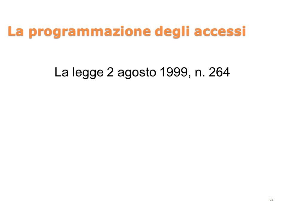 82 La programmazione degli accessi La legge 2 agosto 1999, n. 264
