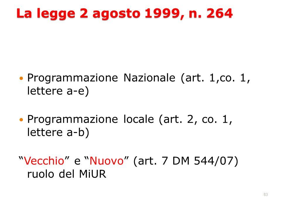 83 La legge 2 agosto 1999, n. 264 Programmazione Nazionale (art. 1,co. 1, lettere a-e) Programmazione locale (art. 2, co. 1, lettere a-b) Vecchio e Nu