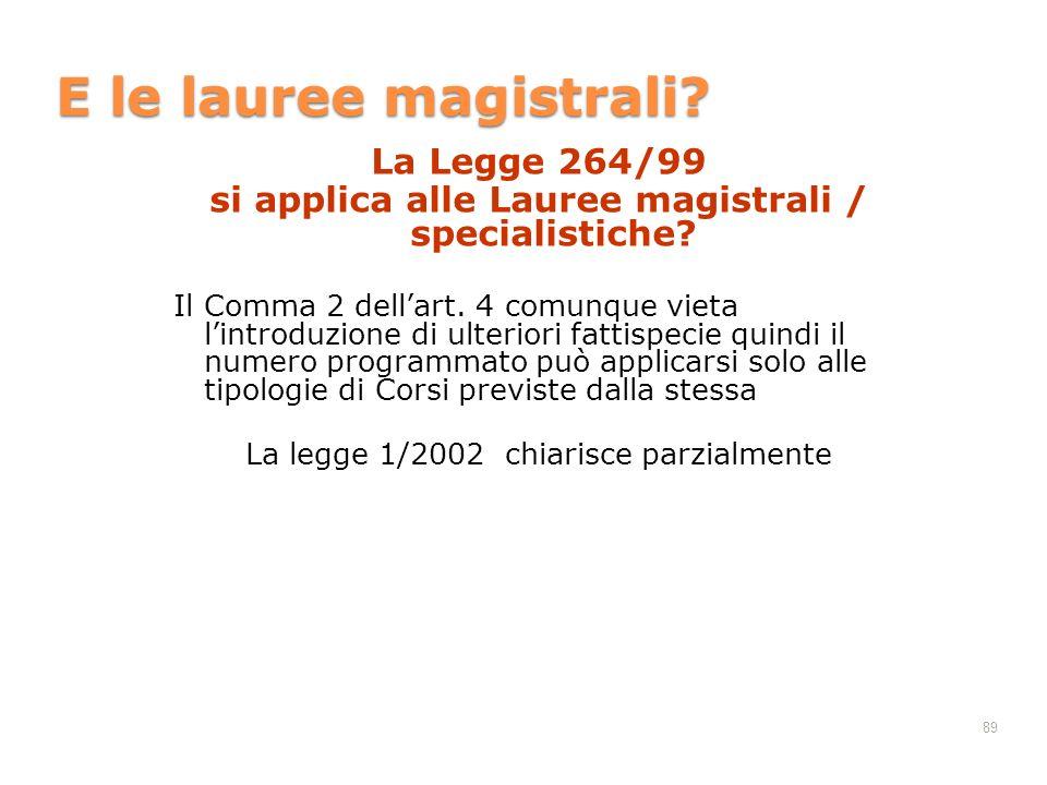 89 E le lauree magistrali? La Legge 264/99 si applica alle Lauree magistrali / specialistiche? Il Comma 2 dellart. 4 comunque vieta lintroduzione di u