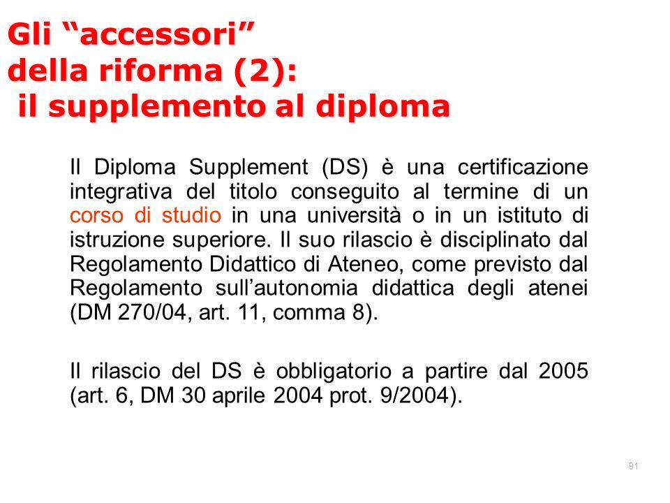 91 Il Diploma Supplement (DS) è una certificazione integrativa del titolo conseguito al termine di un corso di studio in una università o in un istituto di istruzione superiore.