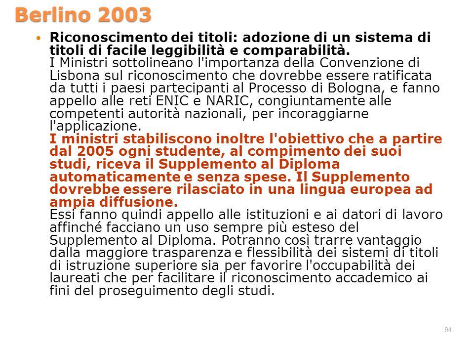 Berlino 2003 Riconoscimento dei titoli: adozione di un sistema di titoli di facile leggibilità e comparabilità. I Ministri sottolineano l'importanza d