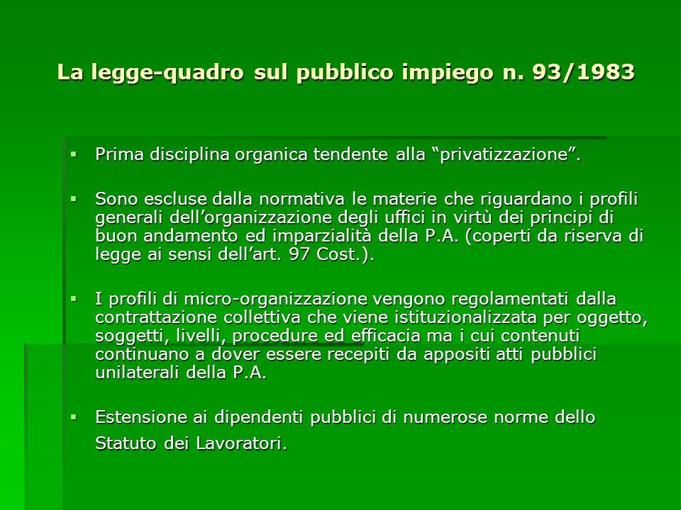 La legge-quadro sul pubblico impiego n. 93/1983 Prima disciplina organica tendente alla privatizzazione. Prima disciplina organica tendente alla priva