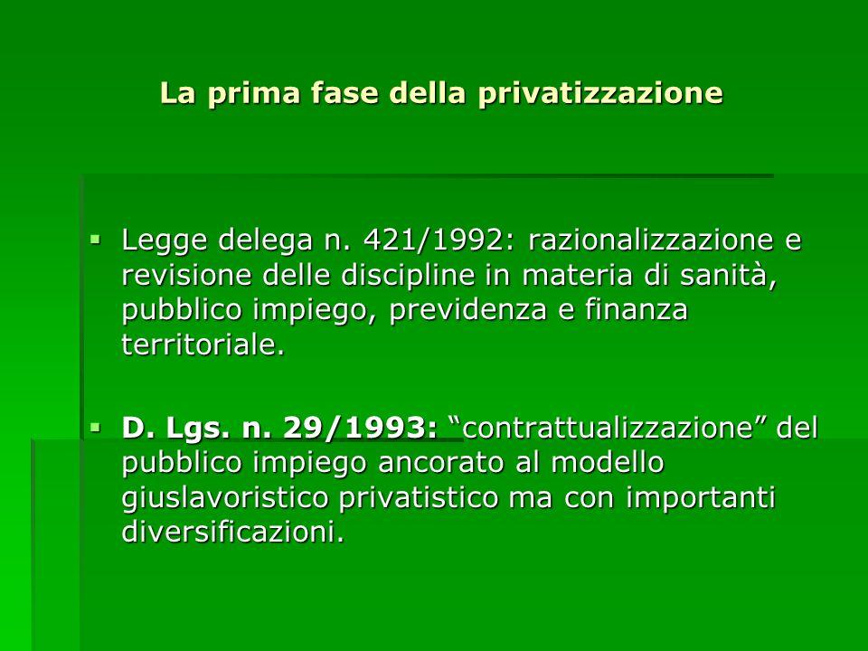 La prima fase della privatizzazione Legge delega n. 421/1992: razionalizzazione e revisione delle discipline in materia di sanità, pubblico impiego, p