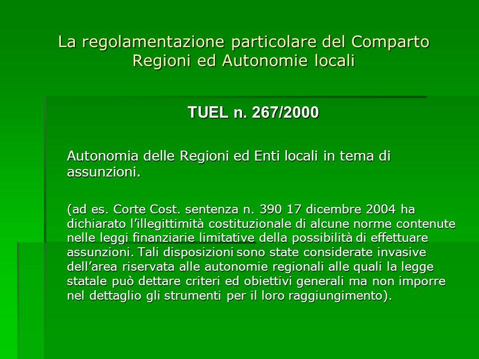La regolamentazione particolare del Comparto Regioni ed Autonomie locali TUEL n. 267/2000 Autonomia delle Regioni ed Enti locali in tema di assunzioni
