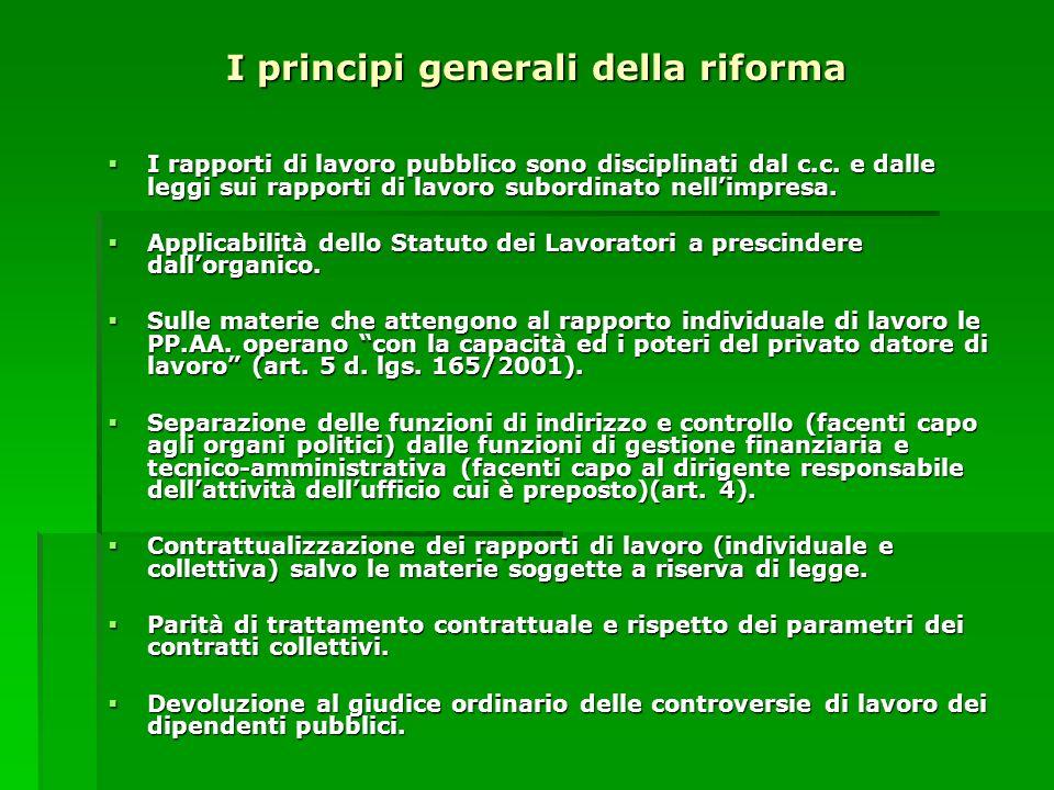 I principi generali della riforma I rapporti di lavoro pubblico sono disciplinati dal c.c. e dalle leggi sui rapporti di lavoro subordinato nellimpres