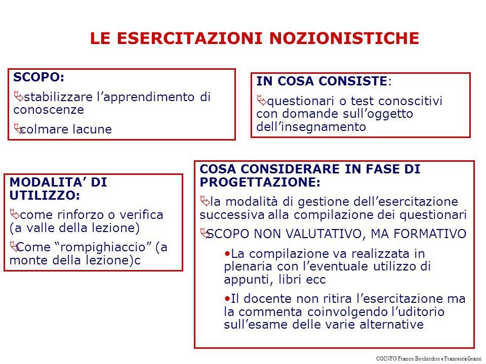 LE ESERCITAZIONI NOZIONISTICHE SCOPO: stabilizzare lapprendimento di conoscenze colmare lacune IN COSA CONSISTE: questionari o test conoscitivi con domande sulloggetto dellinsegnamento MODALITA DI UTILIZZO: come rinforzo o verifica (a valle della lezione) Come rompighiaccio (a monte della lezione)c COSA CONSIDERARE IN FASE DI PROGETTAZIONE: la modalità di gestione dellesercitazione successiva alla compilazione dei questionari SCOPO NON VALUTATIVO, MA FORMATIVO La compilazione va realizzata in plenaria con leventuale utilizzo di appunti, libri ecc Il docente non ritira lesercitazione ma la commenta coinvolgendo luditorio sullesame delle varie alternative COINFO Franco Bochicchio e Francesca Grassi