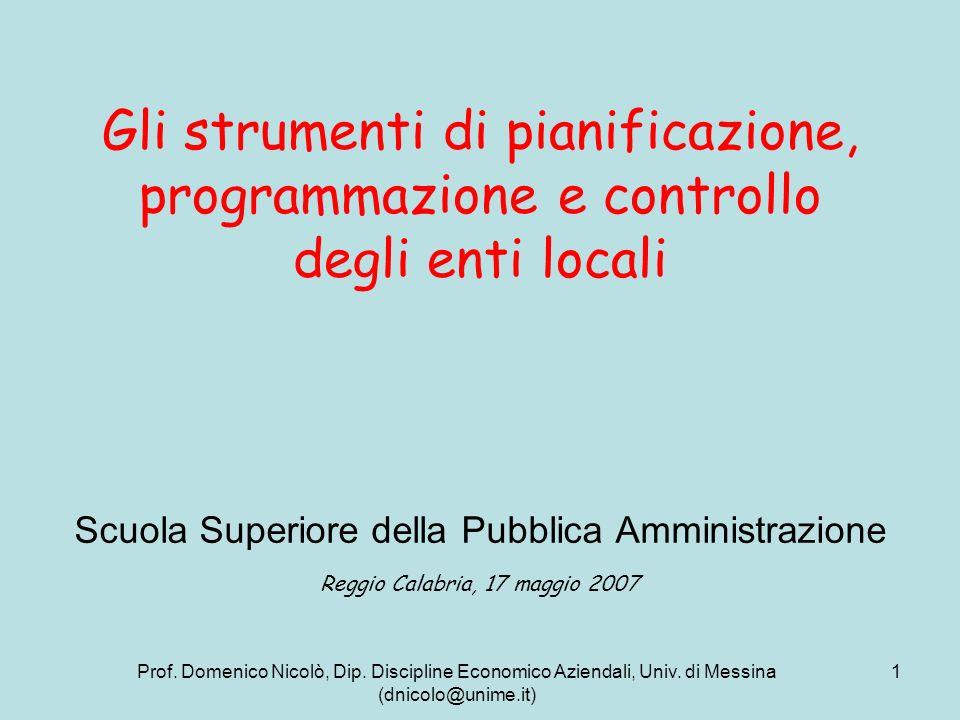 Prof. Domenico Nicolò, Dip. Discipline Economico Aziendali, Univ. di Messina (dnicolo@unime.it) 1 Gli strumenti di pianificazione, programmazione e co