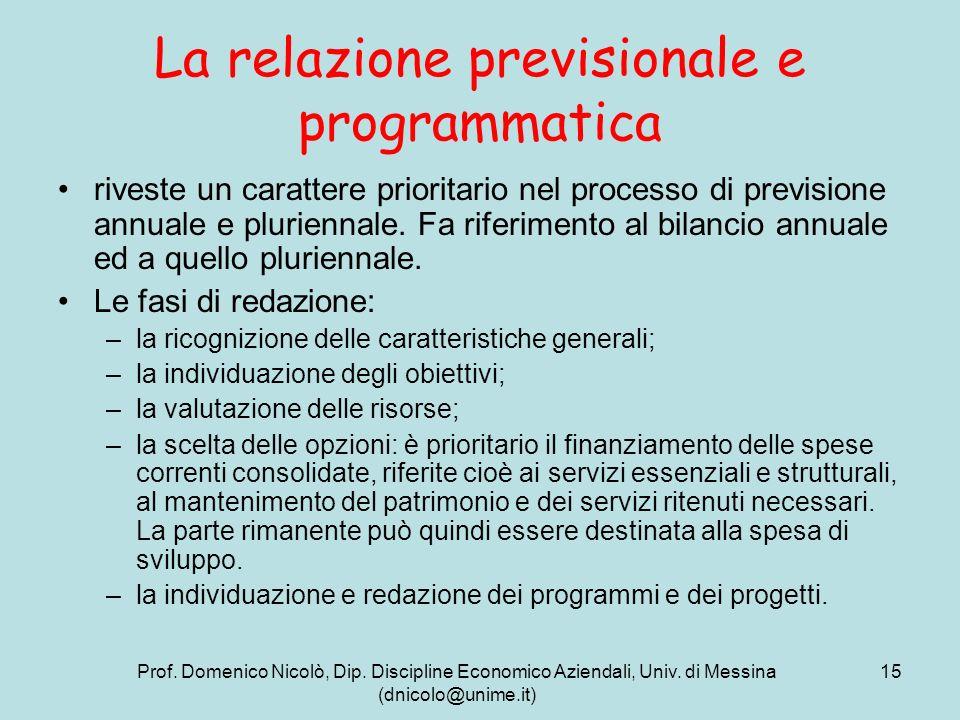 Prof. Domenico Nicolò, Dip. Discipline Economico Aziendali, Univ. di Messina (dnicolo@unime.it) 15 La relazione previsionale e programmatica riveste u