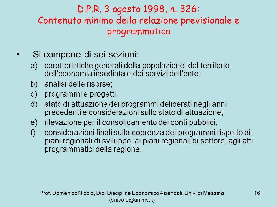Prof. Domenico Nicolò, Dip. Discipline Economico Aziendali, Univ. di Messina (dnicolo@unime.it) 16 D.P.R. 3 agosto 1998, n. 326: Contenuto minimo dell