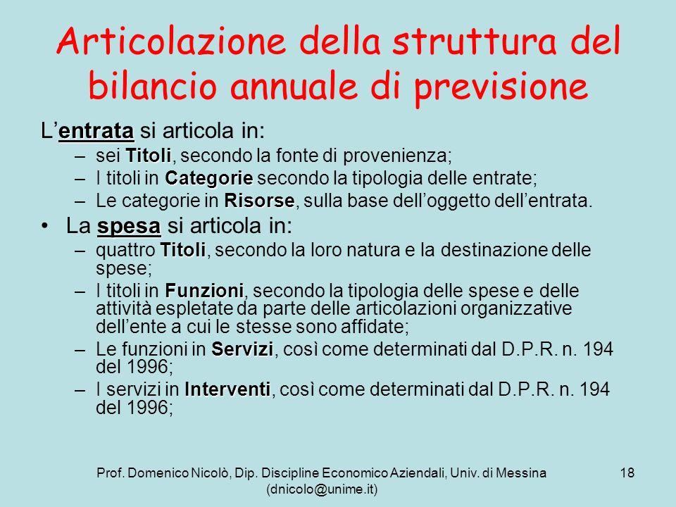 Prof. Domenico Nicolò, Dip. Discipline Economico Aziendali, Univ. di Messina (dnicolo@unime.it) 18 Articolazione della struttura del bilancio annuale