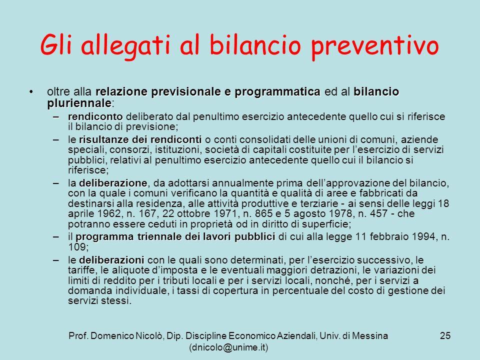 Prof. Domenico Nicolò, Dip. Discipline Economico Aziendali, Univ. di Messina (dnicolo@unime.it) 25 Gli allegati al bilancio preventivo relazione previ