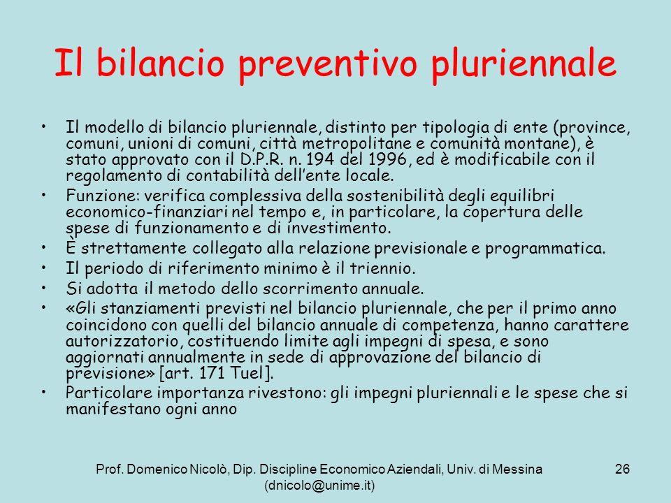 Prof. Domenico Nicolò, Dip. Discipline Economico Aziendali, Univ. di Messina (dnicolo@unime.it) 26 Il bilancio preventivo pluriennale Il modello di bi