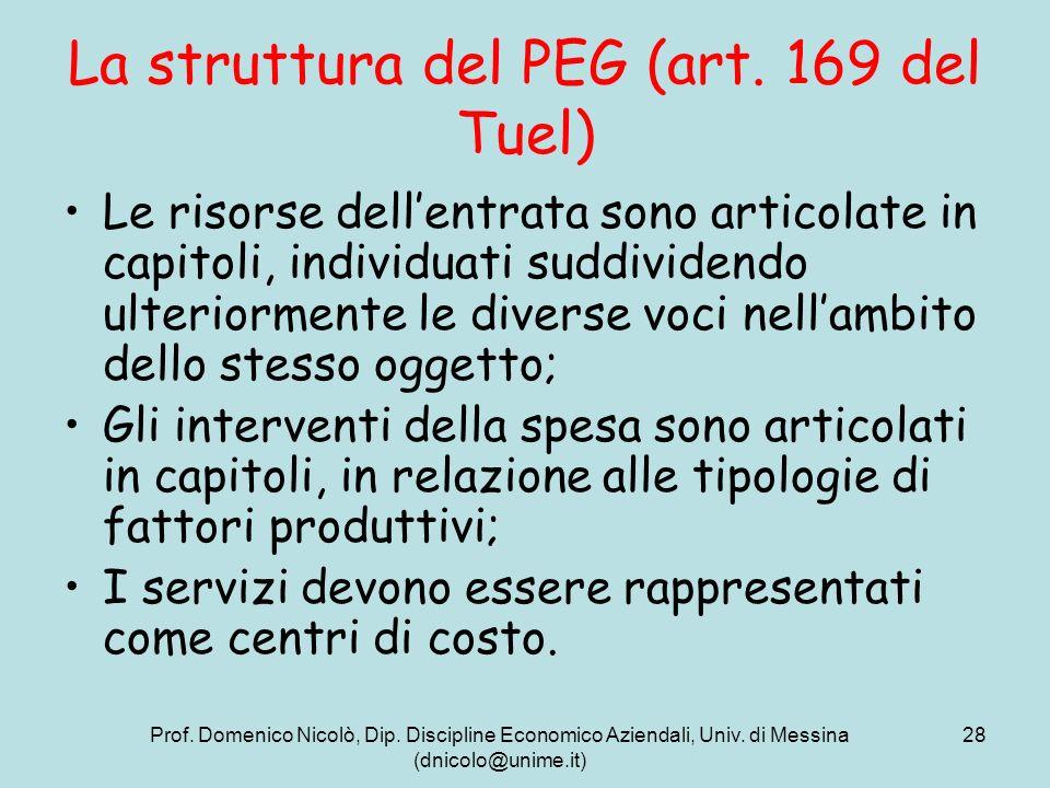 Prof. Domenico Nicolò, Dip. Discipline Economico Aziendali, Univ. di Messina (dnicolo@unime.it) 28 La struttura del PEG (art. 169 del Tuel) Le risorse