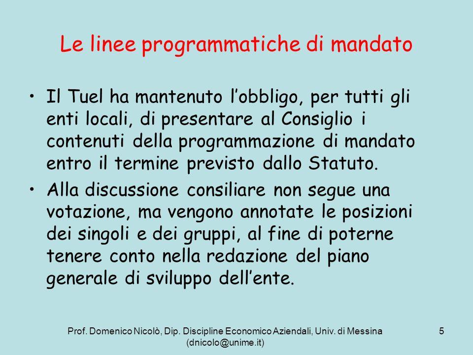 Prof. Domenico Nicolò, Dip. Discipline Economico Aziendali, Univ. di Messina (dnicolo@unime.it) 5 Le linee programmatiche di mandato Il Tuel ha manten